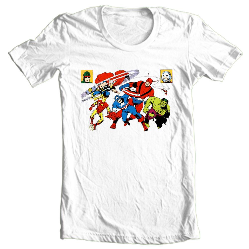The avengers t shirt retro vintage 100 cotton graphic for Retro superhero t shirts