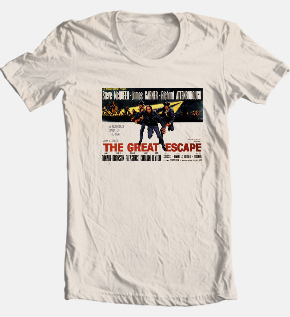 The Great Escape T shirt Steve McQueen retro 70's classic movie cotton tee