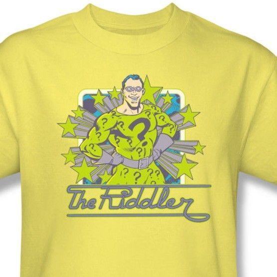 The Riddler T shirt retro Batman Gotham Nygma cotton yellow tee comics DCO679