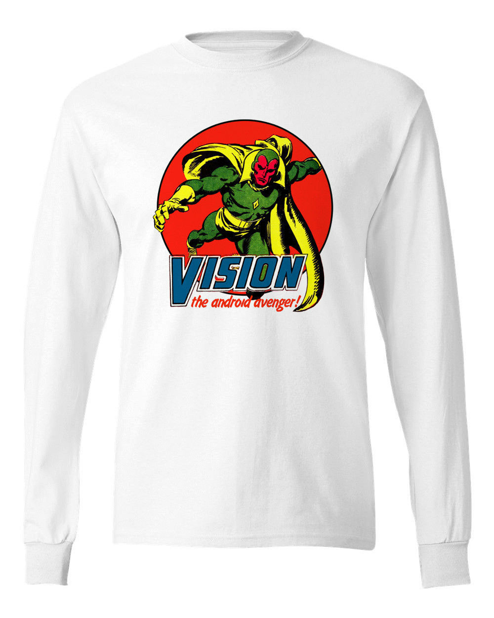 Vision Long Sleeve T shirt  Marvel Comics 100% cotton graphic tee superhero