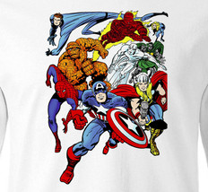 Vintage Marvel Comics T-shirt Fantastic 4 Human Torch Spidey cotton long sleeve  image 1