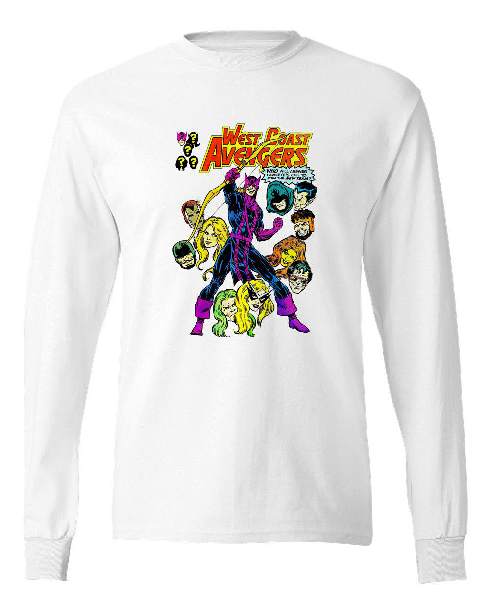 West Coast Avengers Long Sleeve T-shirt Vintage Marvel Comics 100% cotton tee