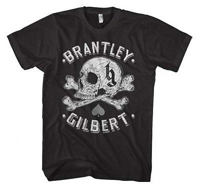 Brantley Gilbert Skull T Shirt Country Music Bottoms Up concert black cotton tee