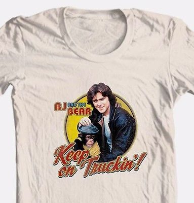 BJ and the Bear T-shirt Keep On Truckin' 1970's retro TV show cotton tee NBC537