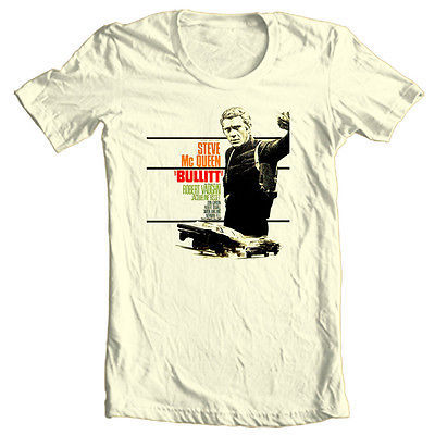 Bullitt movie T-shirt Steve McQueen 70's movie ford Mustang 100% cotton tee