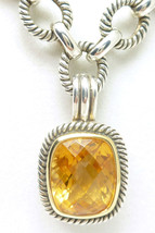 "Citrine Gemstone Enhancer 18"" Sterling Silver Oxidized Textured Link Nec... - $135.00"