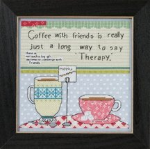 Coffee With Friends Curly Girl 2015 Everyday Series cross stitch kit Mill Hill - $16.20