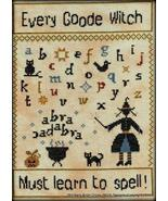 Every Goode Witch Must Learn To Spell cross stitch chart Stitchers Anon ... - $10.80