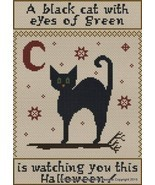 A Black Cat With Eyes Of Green cross stitch chart Stitchers Anon Designs - $10.80