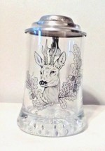 Erbo Zinn Deer Crystal Glass & Pewter Stein Mug Rare Collectible   - $19.80