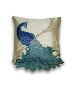 Peacock Throw Pillow Accent Sofa Cushion Blue F... - £27.07 GBP - £38.78 GBP