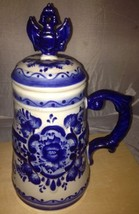 Gzhell Cobalt And White Klisheva Covered Stein Mug Tankard Hand Painted ... - $13.98