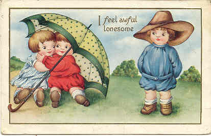 I Feel Awful Lonesome Vintage  Post Card