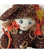 "Halloween Rag Doll Girl 16""with herTrick orTreat Bag and Broom Handmade    - $15.99"