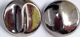 VINTAGE  STERLING SILVER ROUND 925 BUTTON EARRINGS - $19.79
