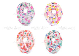 Mums Flower Floral Print Block Circle Loop Wrap Infinity Scarf Casual Fashion - $6.45