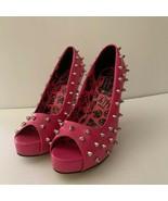 Abbey Dawn Womens WTH Fuschia Pink Studded Peep Toe Platform Stiletto He... - $20.78