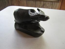 Vintage Hand Carved Dark Wooden Ox Oxen Bull Steer Figure Carving Ashtra... - $16.82