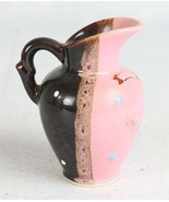 """Orion Japan Small Pitcher Brown and Pink with Hand Painted Accents 4-1/2"""" - $9.89"""