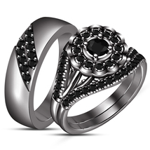 Black Diamond Womens Engagement Ring And His Her Band Trio Ring Set 925 ... - $141.89