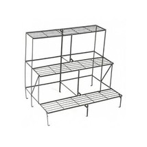 Garden Plant Etagere Black Three Shelves Metal Patio Pot Display Flower ... - $68.65 CAD