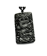 natural Obsidian  stone Chinese dragon good luck gift charm pendant neck... - $19.79