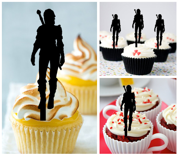 Ca350 Decorations cupcake toppers The Witcher 3 silhouette Package : 10 pcs