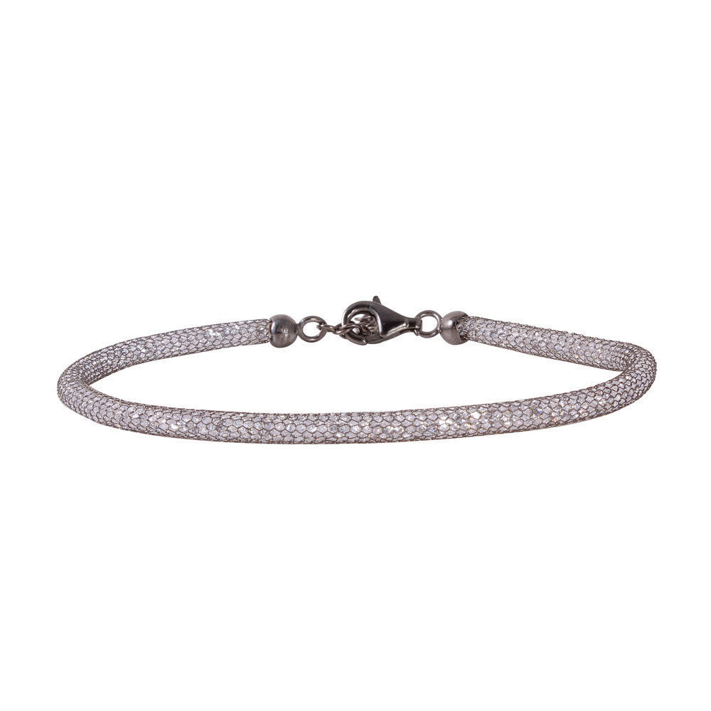 Primary image for Sterling Silver Black Rhodium Plated Mesh Embedded Cubic Zirconia Bracelet