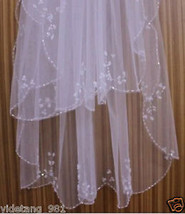 New 2T Ivory/White Elbow Beaded Edge sequins Bridal Wedding Veil With Comb - $16.62