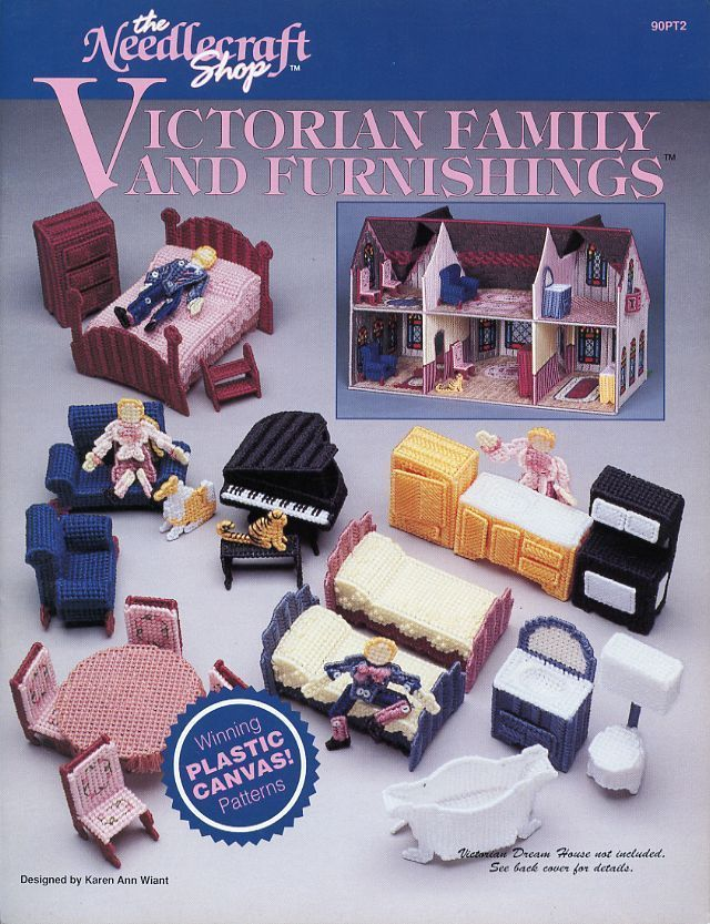 Victorian Doll Family and Furnishings TNS Plastic Canvas Pattern Leaflet