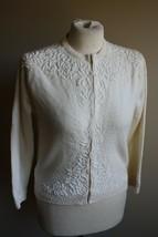 Vtg Prince 38 Ivory Beaded Lambswool Cardigan Sweater - $22.80