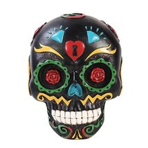 Pacific Giftware Black Day of The Dead Skull Wall Plaque Figurine Made o... - £14.79 GBP