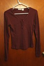 Energie Dark Purple Ribbed Long Sleeve Top - Size Juniors Medium - $7.99