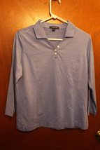 Lands' End Ladies Blue Collared 3/4 Sleeve Top - Size Small 6-8 - $11.99