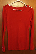 Gap Red Long Sleeve Top w/ Button Details - Size Juniors Small - $9.99