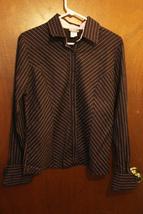 Rave Brown Button Down Shirt w/ Pink Stripes - Size Juniors XL - $10.99