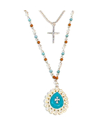 Faux Turquoise Pearl Beaded Double Strand Cross Pendant Silvertone 24 In... - $8.00