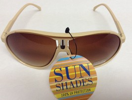 Zoom Sun Shades Sunglasses NWT 100% UV Protection Gold & Beige - $8.99