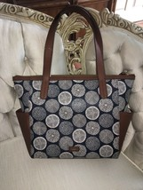 FOSSIL Medium Large Navy Blue Floral Canvas Brown Leather Shoppers Tote Bag NWT - $79.99