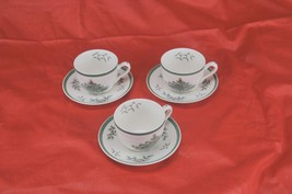 Spode Christmas Tree Tea Coffee Cups and Saucers 3 Sets 6pcs Made in Eng... - $30.36