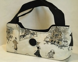 Morgan Paris Purse Chic Handmade Fashion Handbag Tote Black Handles Gray Tan