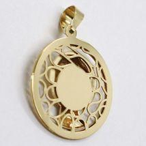Pendentif Médaille or Jaune 18K Vierge Marie, Finement Tricotée, Avec Cadre image 3