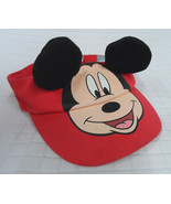 Disney MICKEY Mouse RED Baby SUN VISOR Hat BLACK Ears FLAP Size 12-24m C... - $9.90