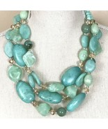 Super Fabulous Vintage Chunky Marbled Resin Beaded Necklace With Crystals - $59.35