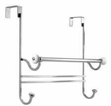 InterDesign York Over Shower Door Towel Bar Rack with Hooks for Bathroom - White - $34.21