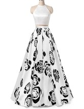 Floral Print Two Piece Homecoming Dress 2018 Long Halter A Line Formal Prom Gown - $119.99