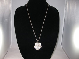 NEW Betsey Johnson White Rhinestone Flower Pendant on lo... - $24.50