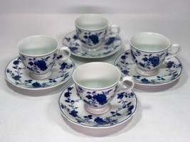 Set Of 4 Royal Meissen Fine China CUPS & SAUCERS  From Japan * Blue & White - $30.83