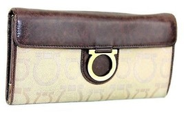 Auth Salvatore Ferragamo Gancini Canvas & Leather Long Wallet Purse Brow... - $98.01