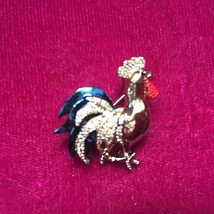"Vintage Jewelry Enamel Rooster Brooch Pin Chicken Gold Tone Multi Colored 1"" - $11.30"